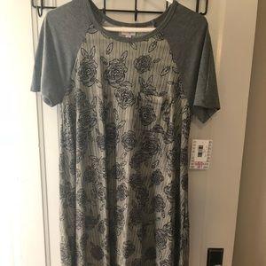 Lularoe Stripe Rose Carly with Grey Sleeves